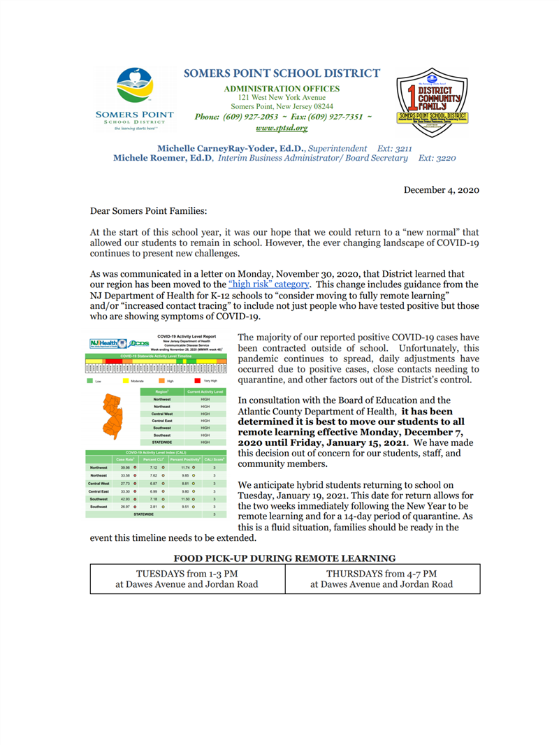 12 4 2020 SOMERS POINT SCHOOL REMOTE LEARNING LETTER