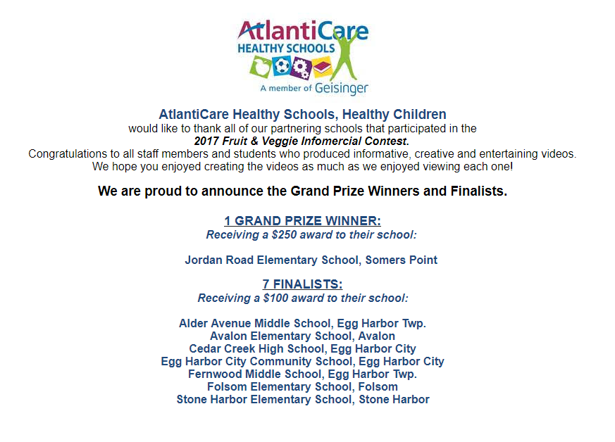 Jordan Road School wins Atlantic Care Healthy Schools Award