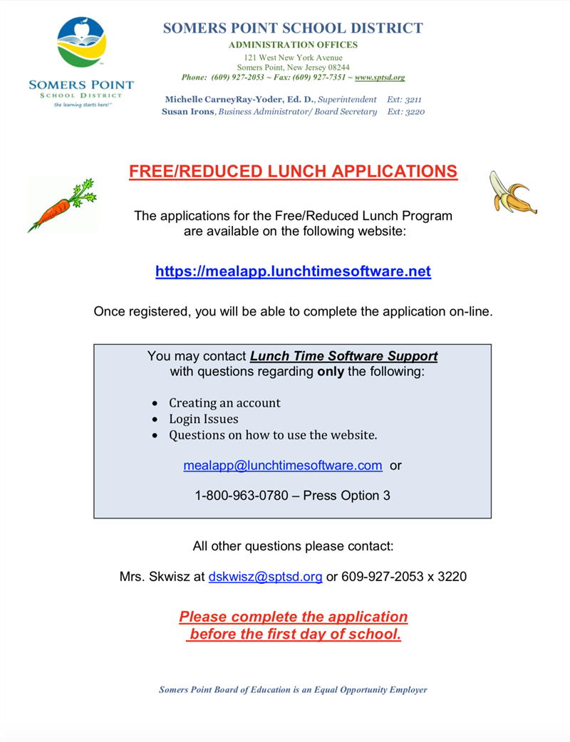 FREE & REDUCED LUNCH APPLICATIONS OPEN ONLINE AUGUST 19, 2019