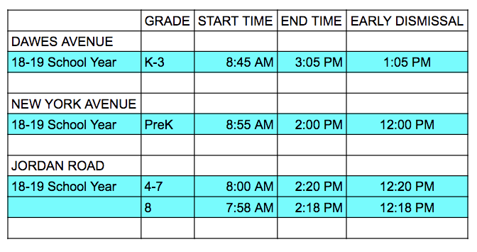 DROP OFF AND PICK UP TIMES FOR SOMERS POINT SCHOOLS
