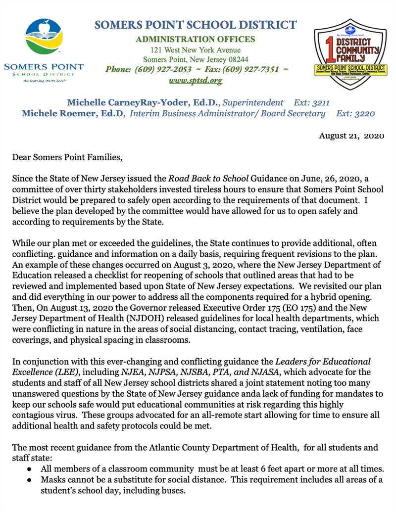 8 21 2020 Reopening Letter for the Somers Point School District
