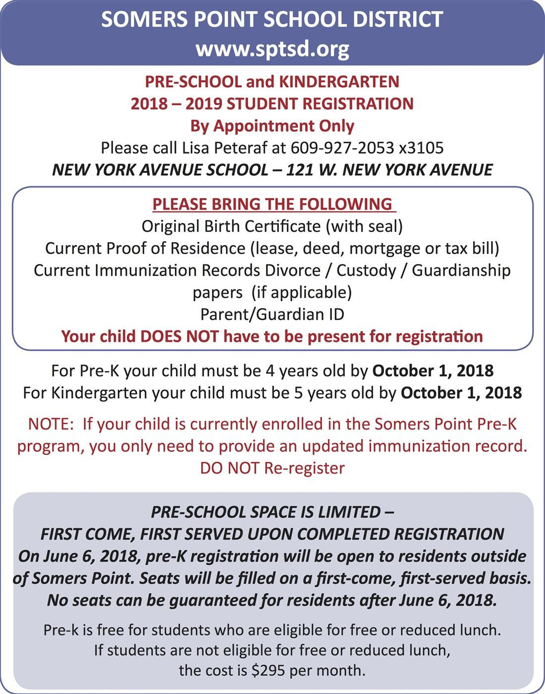 Pre School Registration by appointment only