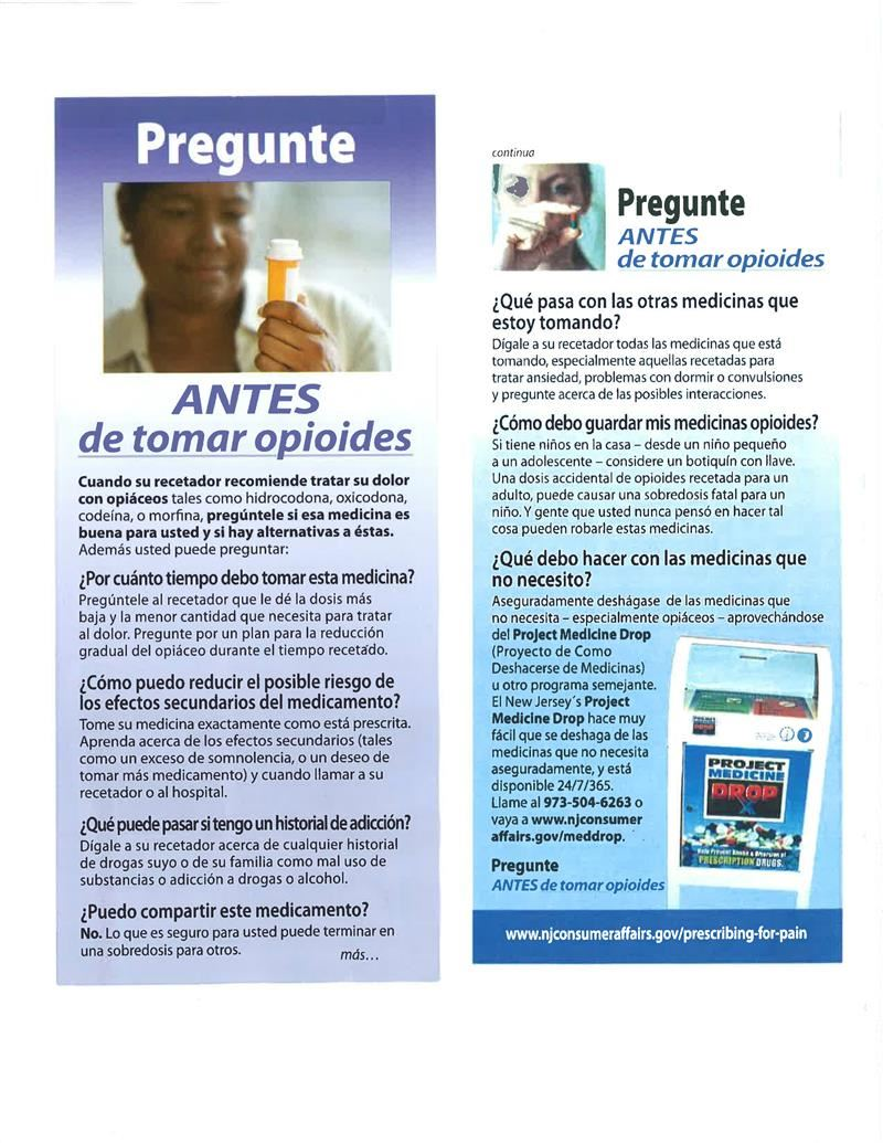 Questions to ask before taking Opioids Spanish